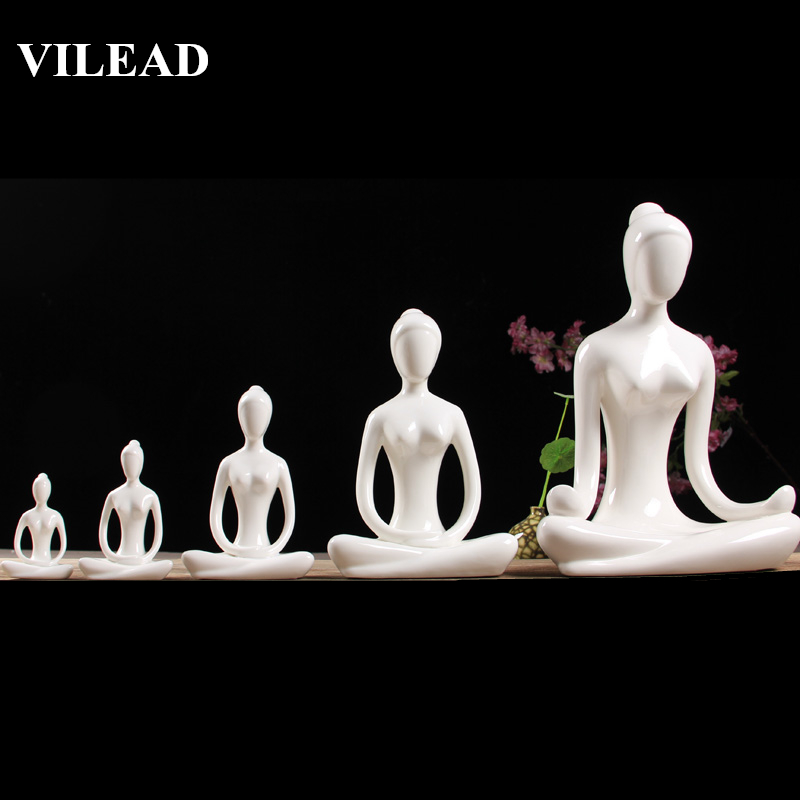 VILEAD 12 Styles White Ceramic Yoga Figurines Ename Abstract Woman Yoga Miniatures Yog Stattues Yoj Figurines Home Decoration in Figurines Miniatures from Home Garden