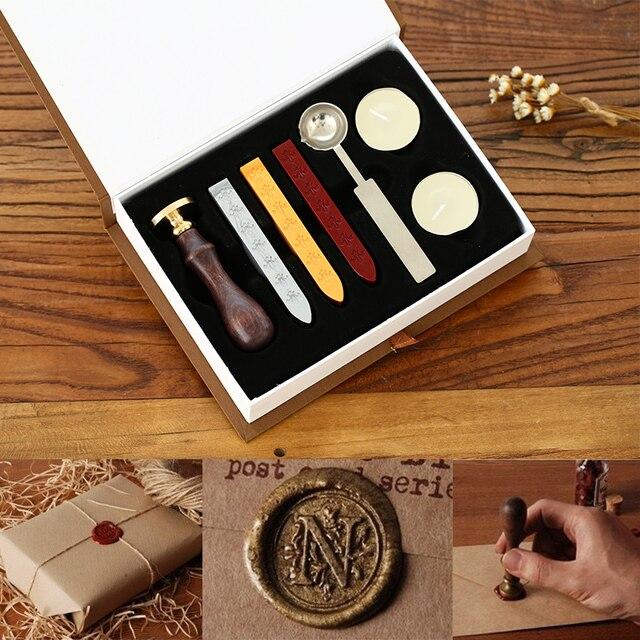 1set vintage wood alphabet badge sealing wax seal stamp kit set
