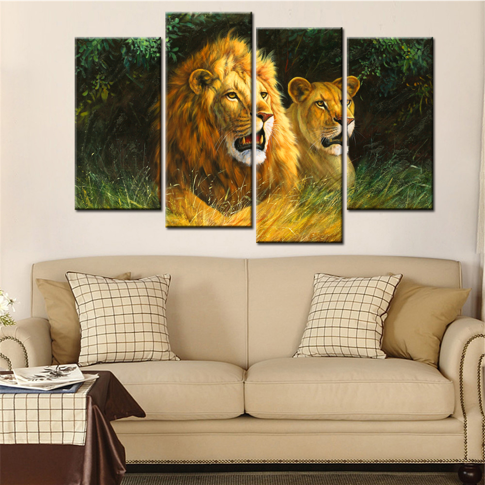 online get cheap realistic lion aliexpress com alibaba group 4 panels drop shipping unframed home decor animal lions posters modern canvas art painting for living