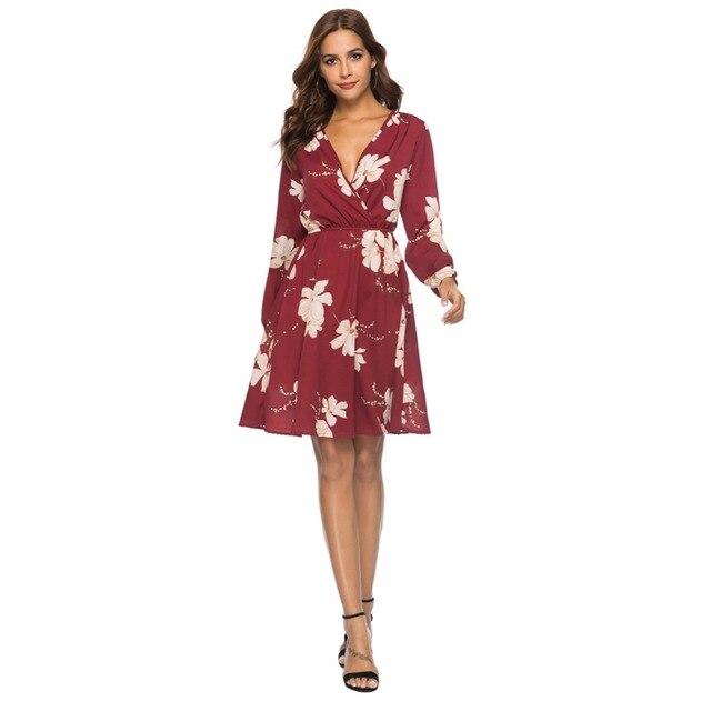 Women Spring Europe and America Sexy V-neck Long Sleeve Print Chiffon Dress