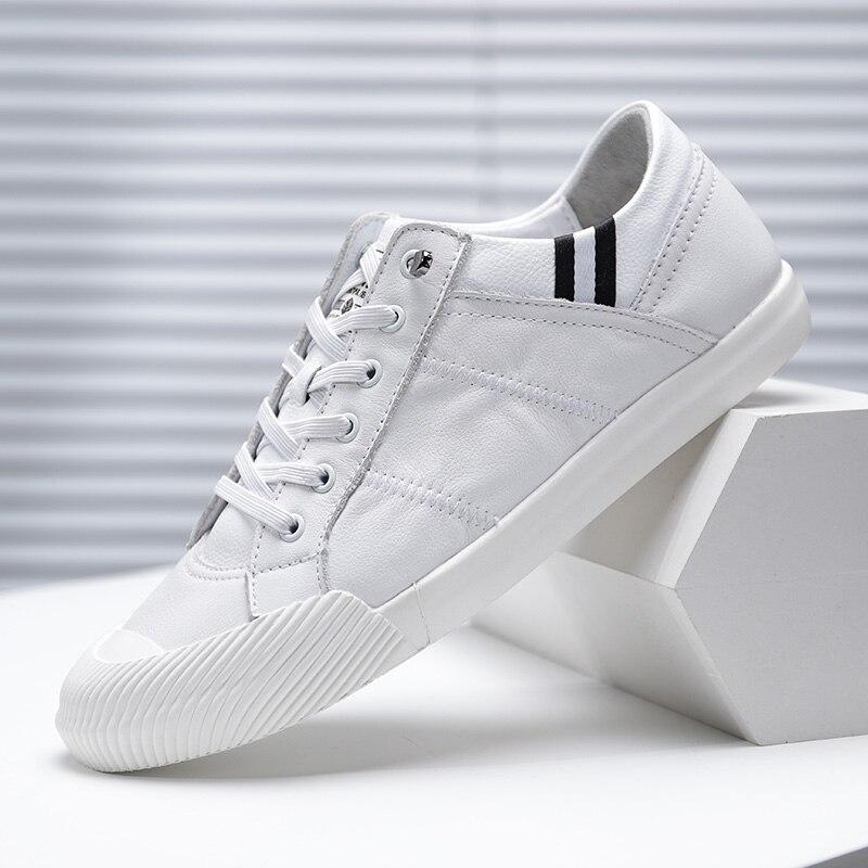Baskets hommes chaussures décontractées véritable en cuir hommes Designer solide classique mode mâle à lacets appartements noir blanc 38-44 C4