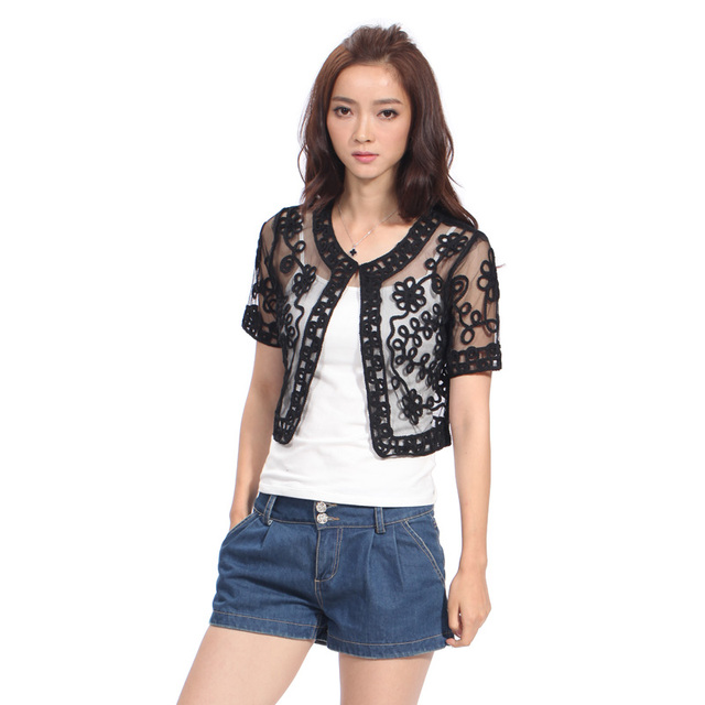 c7ee7daf4fa Hand Knitted Summer Women s Shrug See Through Short Sleeve Hand Knitted  Thin Shrug Black Color Fashion