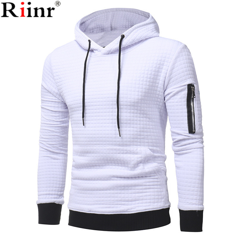 Riinr 2018 Fashion New Arrival Hoodies Men Spring&Autumn Casual Cotton Blends Solid Color Plaid Design Pullover Sweatshirts Men