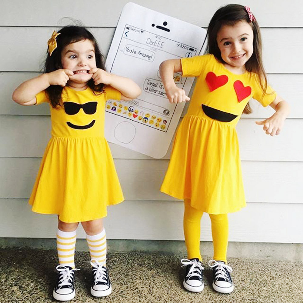 New Arrival Cute Toddler Infant Kids Baby Girls Dress Emoji Emoticon Smiley Short Sleeve Sun Dresses Outfits vestidos Yellow