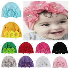 Newborn Toddler Hat Kids Baby Girls Pearl Three Flower Cotton Beanie Hat Winter Cap Sweet Solid Cute Lovely Warm Soft Accessorie(China)