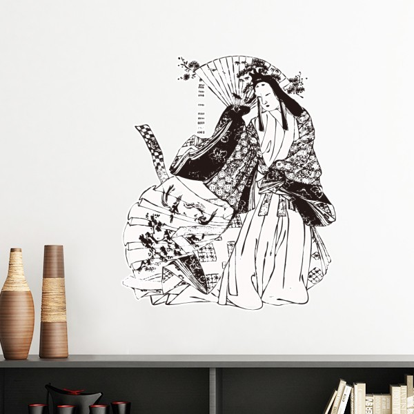 Japan traditional culture black kimono woman drawing art japanese style wall sticker art decals mural wallpaper for room decal in wall stickers from home
