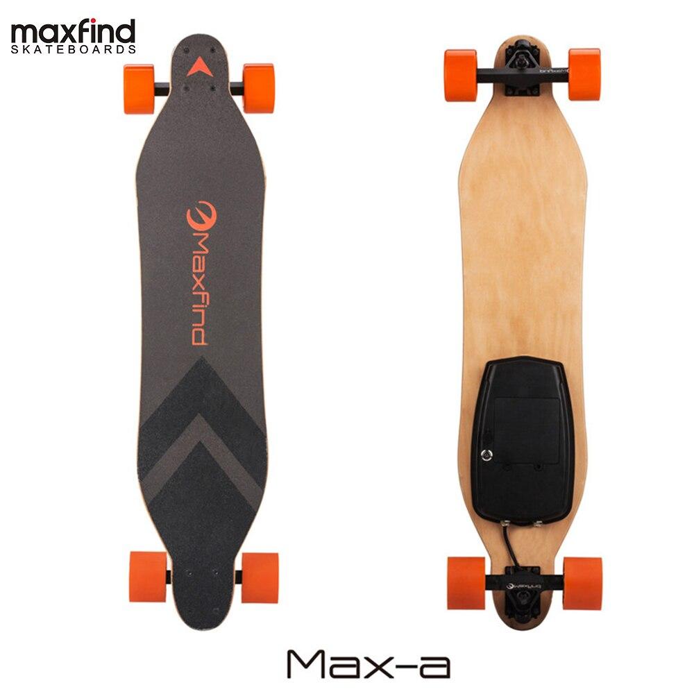 Maxfind 4 Roues trottinette électrique Planche À Roulettes Longboard avec télécommande Unique Hub Moteur LG 2.2AH Batterie