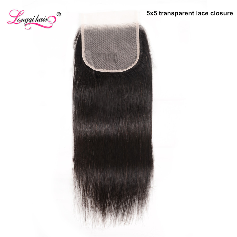 Longqi Hair Transparent 5x5 Lace Closure Brazilian Hair Remy Straight Human Hair Transparent Closure 10 - 18 Inch Free Shipping(China)