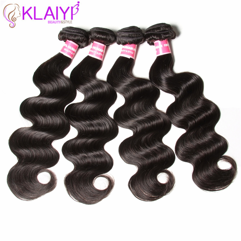 Peruvian Hair Weave Body Wave Hair Extensions 100% Remy Human Hair Weave 4 Bundles Do A Wig Natural Color Klaiyi Hair Products