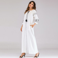 Fashion Muslim Dress Abaya in Dubai Islamic Clothing Women Muslim Long Sleeve Embroidered Arab Plus Szie Islam Jilbab Dress Z411