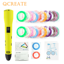 QCREATE 3D Printing Pen ABS PLA Dual Mode LCD Display Heating Temperature and 8 Speeds Adjustable add 100M Filament