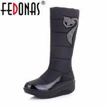 FEDONAS New Women Winter Boots Keep Warm Cotton Down Shoes Waterproof Boots Snow Boots Fur Platforms Mid Calf Boots Big Size