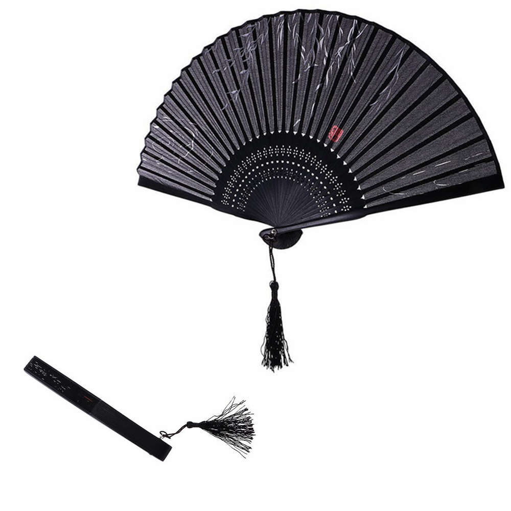 1pc Black Fans Folding Hand Held Fan Chinese Painting Fan For Dancing Wedding Party Home Decor Crafts Gift XLZ9101