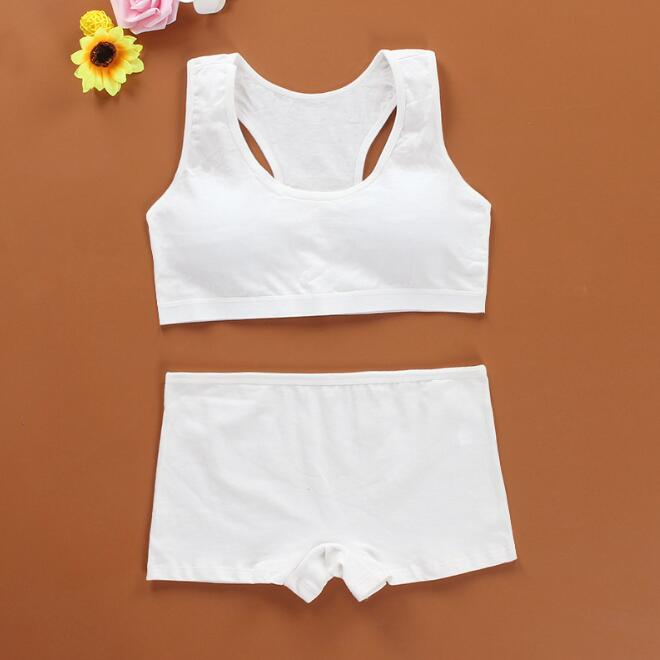 Girl   bra     set   boxer pants solid color bow development period 12-16 years old cotton summer vest style lace bra1