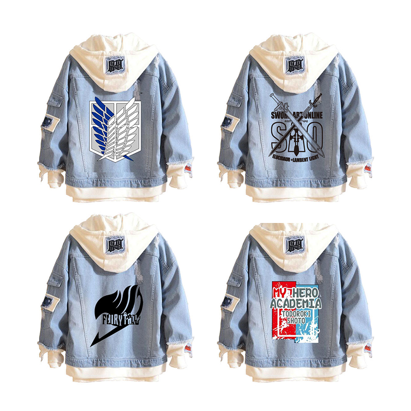 Attack on Titan Wings of Freedom Casual Jacket Sword art online Cosplay Denim Jacket Autumn Hooded Sweatshirt Unisex Coat