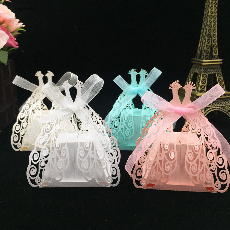 50pcs 4 color Peacock In Love Design Laser Cut Candy Box,Baby Shower Supplies Party Favor Box DIY Wedding Gift Favor Boxes