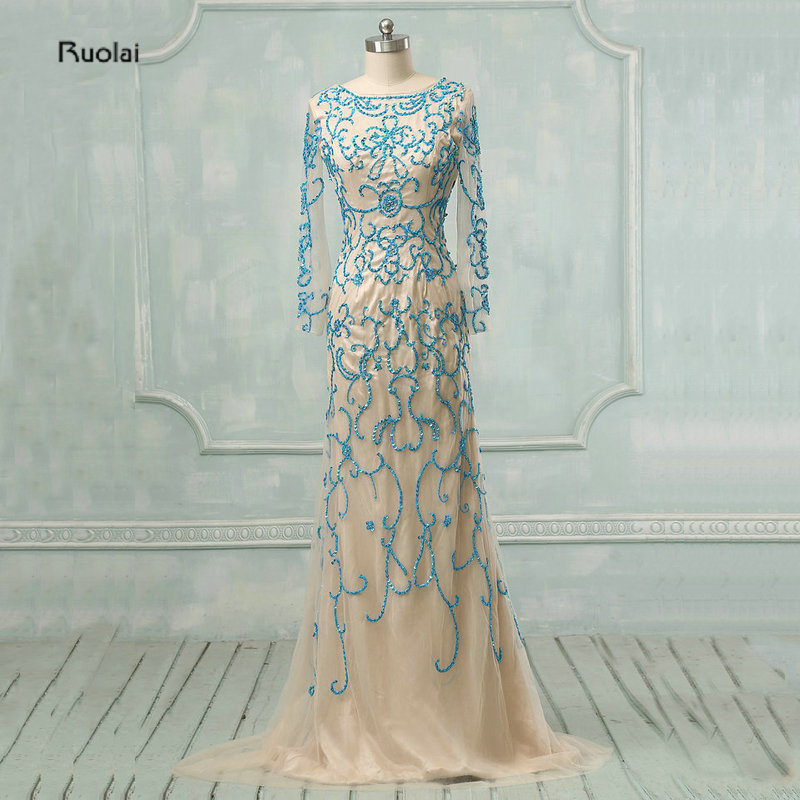 2016 New Arrival Elegant A Line Embroidery Sequined Mother Of The Bride Dresses Custom Made Lace Up Back Sheer Long Sleeves