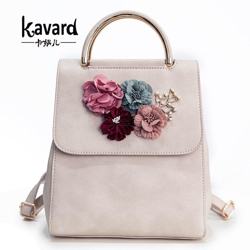 Kavard Brand Women Small Backpack PU Leather Women's Backpack Beading Flower School Bags For Girls Female Backpack 2019