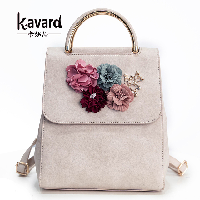 Kavard Multifunction Women Small Backpack PU Leather Women's Backpack Beading Flower School Bags For Girls Female Backpack 2017