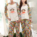 2017 New Spring Long Sleeve Cotton Pajama Sets Cartoon Monkey Lover's Pajamas Man And Women Couple's Homewear Adult Sleepwear