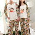 2017 Nova Primavera de Manga Longa Conjuntos de Pijama de Algodão Dos Desenhos Animados Homewear Pijama do Homem E Mulheres Casal Amante Do Macaco Adulto Sleepwear