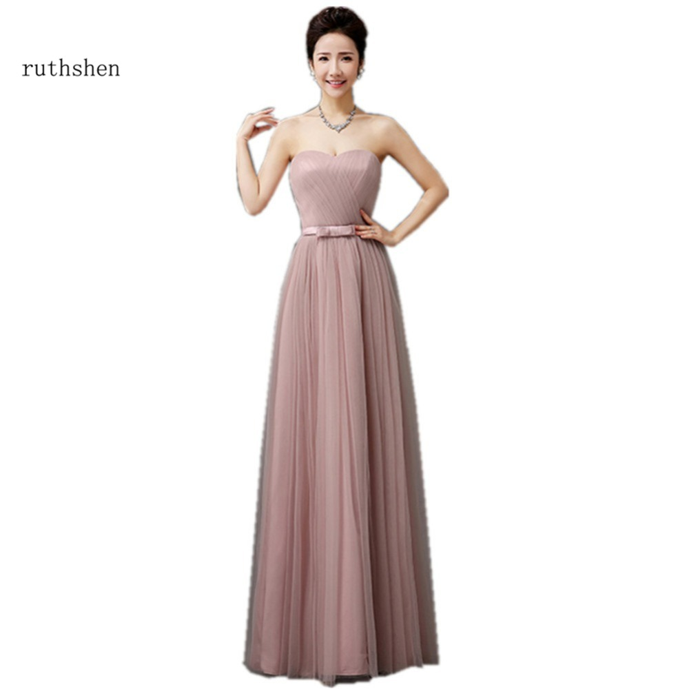 ruthshen 2018   Bridesmaid     Dresses   Sweetheart Pleated Pink Gray Tulle Vestidos De Madrinha Cheap Wedding Guest   Dresses