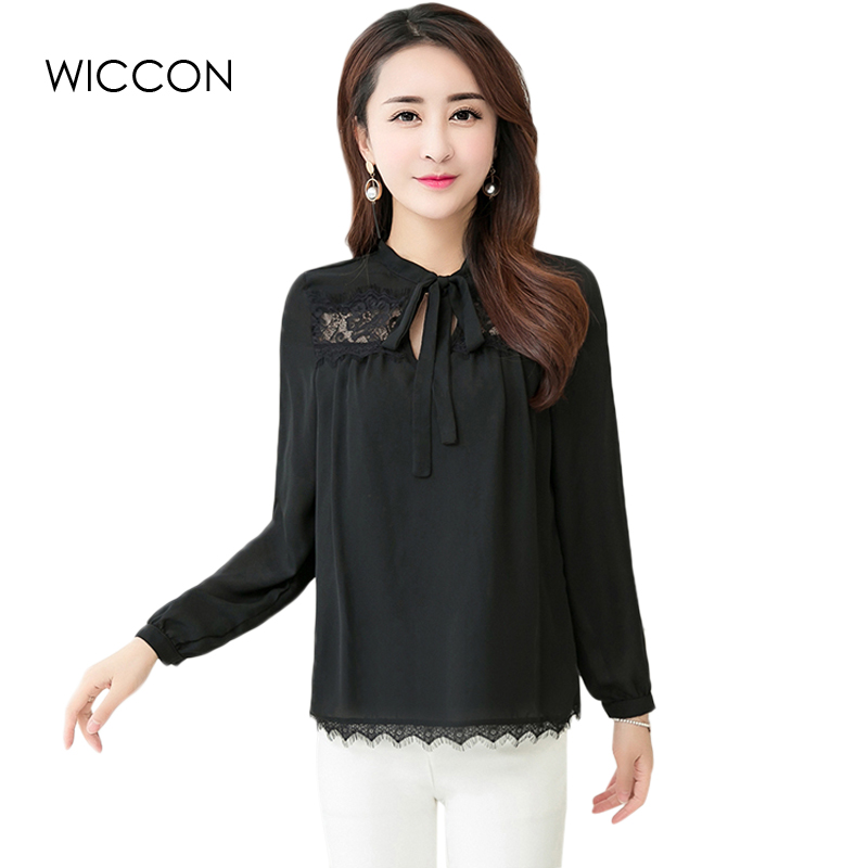 Elegant Women blusas lace long sleeve chiffon blouses Work Wear Black  shirts women tops causal blusa women clothes WICCON-in Blouses & Shirts  from Women's ... - Elegant Women Blusas Lace Long Sleeve Chiffon Blouses Work Wear