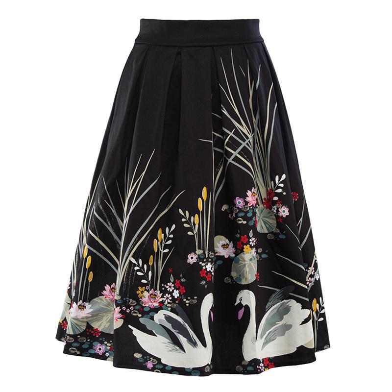 Kostlish 2017 Retro Print Summer Skirts Womens High Waist 50s Vintage Midi Skirt Elegant Slim Big Swing Women Skirt Plus Size (13)