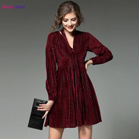 HANZANGL Autumn Winter Velvet Dress 2017 Women Long Sleeve V Neck A Line Pleated Casual Vintage