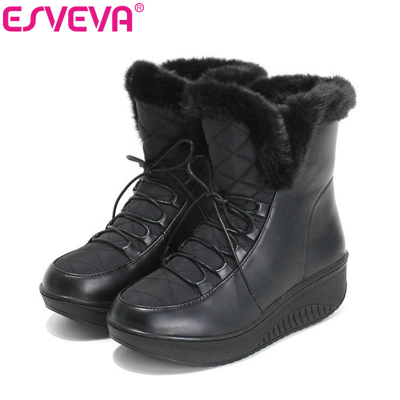ESVEVA Casual Winter Women Shoes Warm Fur Lace Up Snow Boots Wedges Heel Platform Ankle Boots Black White Plush Fashion Boots brand new waterprrof snow boots women winter shoes warm wool ankle boots for women lace up platform shoes with fur ladies shoes