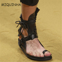 2017New Style Designer Sewing Sandalia Clip Toe Sandals Masculina Beach Shoes Masculino Gladiator Leisure Flat Shoes Men Sandals
