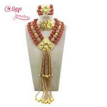 Nigerian Wedding African Beads Rushed Classic Women Jewelry Set New Arrived Nigeria Set Necklace Africa Beads E1057