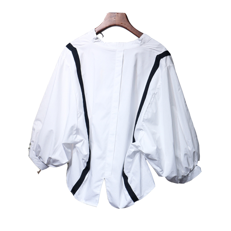 Light ripe temperament v-neck holiday two straps hubble-bubble sleeve short loose shirt is female