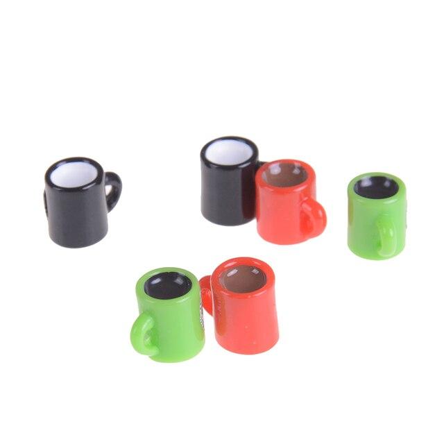 6 piezas Mini taza para miniatura casa de muñecas taza de café hogar vajilla decoración al azar cocina habitación comida bebida