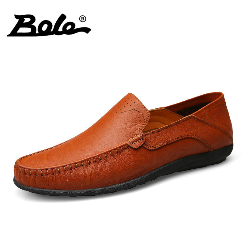 BOEL 37-47 Large Size Shoes For Men Designer Fashion Slip On Comfort Handmade Genuine Leather Shoes Men Loafers Flat Men Shoes fashion tassels ornament leopard pattern flat shoes loafers shoes black leopard pair size 38