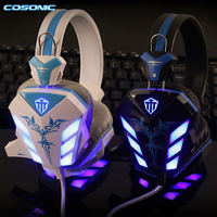 Pro Gaming Headset Headphones USB 3 5mm Stereo Surround Headband Earphone With Microphone LED Light For