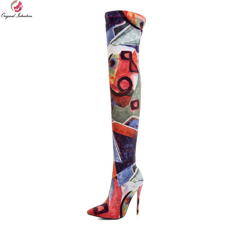 Original Intention Stylish Women Over-the-Knee Boots Pointed Toe Thin High Heels Boots Multi Colors Shoes Woman Plus Size 3-10.5 original intention high quality women knee high boots nice pointed toe thin heels boots popular black shoes woman us size 4 10 5