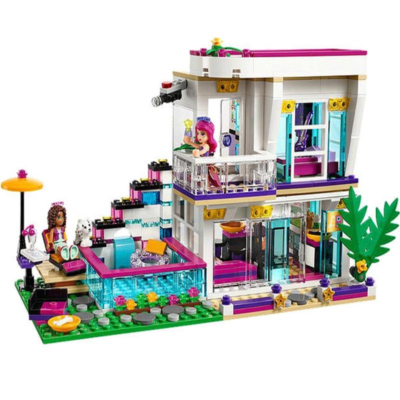 Lepin Girls Club 01046 Friends Livi's Pop Star House Building Blocks Compatible with Friends Andrea mini-doll figures Toy 41135 8pcs lot winx club doll pvc figures 8cm dolls for girls winx club angel figures