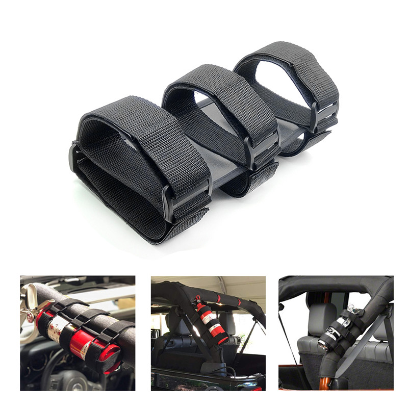 Adjustable Car Roll Bar Fire Extinguisher Mount Bracket Auto Fixed Holder Belt Car Interior Safety Fixing Straps Automobile Jeep