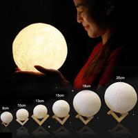 3D Moon Lamp USB LED Night Light Warm Touch Sensor Color Changing Decor