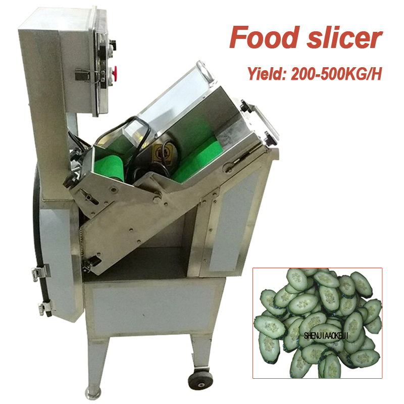 200-500KG/H Commercial 45 Degree Fruit Vegetable Meat Slicer Cutting Machine JY-45 Electric Ham Sausage Oblique Slicer 380V 950W