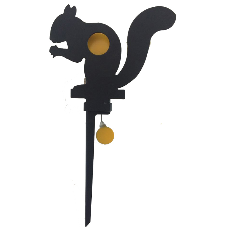 Heavy-duty steel squirrel targets for paintball use .177 or .22 caliber lead particles to improve hunting shooting skills