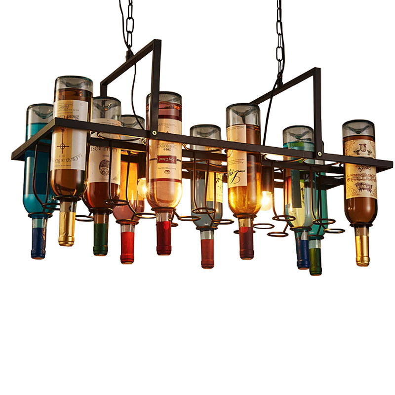Industrail style personality glass bottle iron pendant lights retro simple lamp glass bar restaurant comercial lighting fixtures european style wicker pendant lighting simple lampara mimbre restaurant bar bottle pendant lamp cutting glass wine bottles lamp