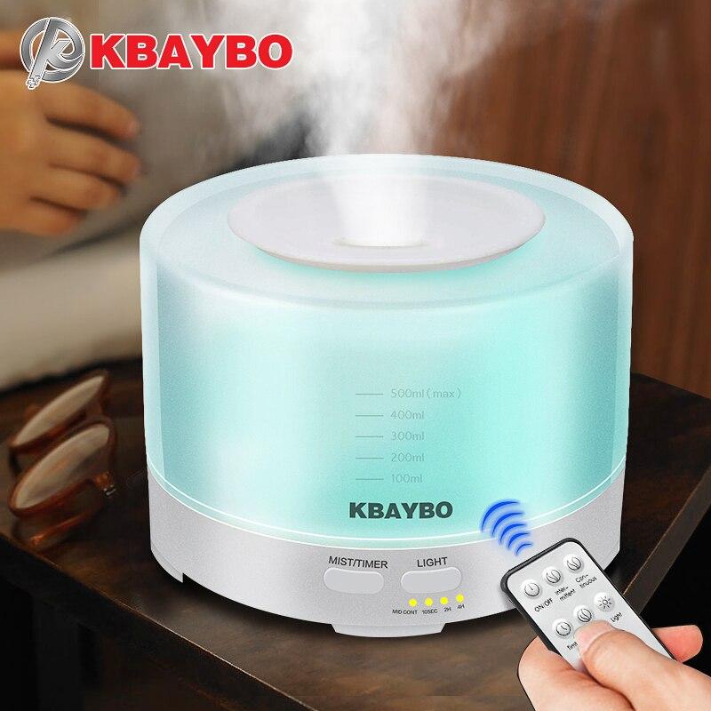 Kbaybo aroma humidificador ultrasónico 500 ml Control remoto Aceites difusores LED Mist Maker purificador aromaterapia