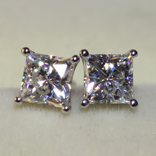 Solid 14kt 585 White Gold Princess Cut 1 2 Carat Stud Lab Grown Moissanite Diamond Earrings Push