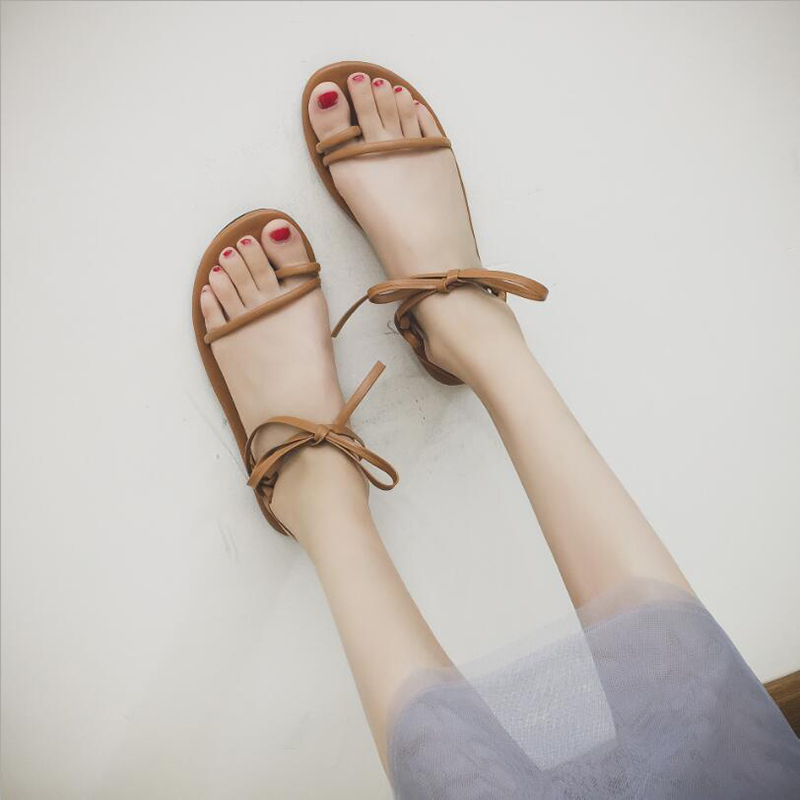 Concise Flat Heels Ankle Strap Sandals Women Flip Flps Sandals Shoes Casual Lace-up Bow Sandals Woman Shoes Fashion Q0177 women sandals fashion low heels sandals for summer shoes woman ankle strap flats sandals shoes soft bottom casual shoes 35 44
