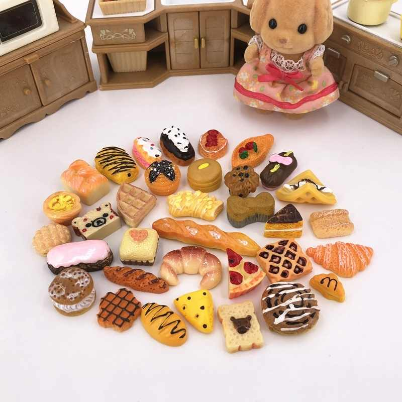 10pcs/set Children Kitchen Cutting Toys Bread Model Mini Food Ornament Dollhouse Decor for Micro Landscape DIY Landscaping