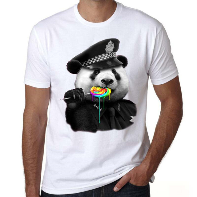 2017 New Brand Modal T Shirt Police Dept Design T Shirts: Men Funny T Shirt 2017 Printed Custom T Shirt Lovely Panda
