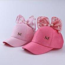 Роскошный большой бант мода лето дети черный белый розовый кружева цветочные бейсболки уха с перловой дети шляпы Принцесса крышка сетки
