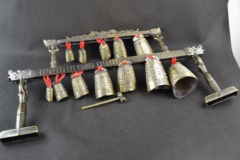 Pirinç qədim Çin musiqi alətində Çin Tibet dragon glockenspiel - Ev dekoru - Fotoqrafiya 6